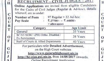 Gujarat High Court Recruitment Notification 2017 || Apply For 129 Civil Judge Vacancies