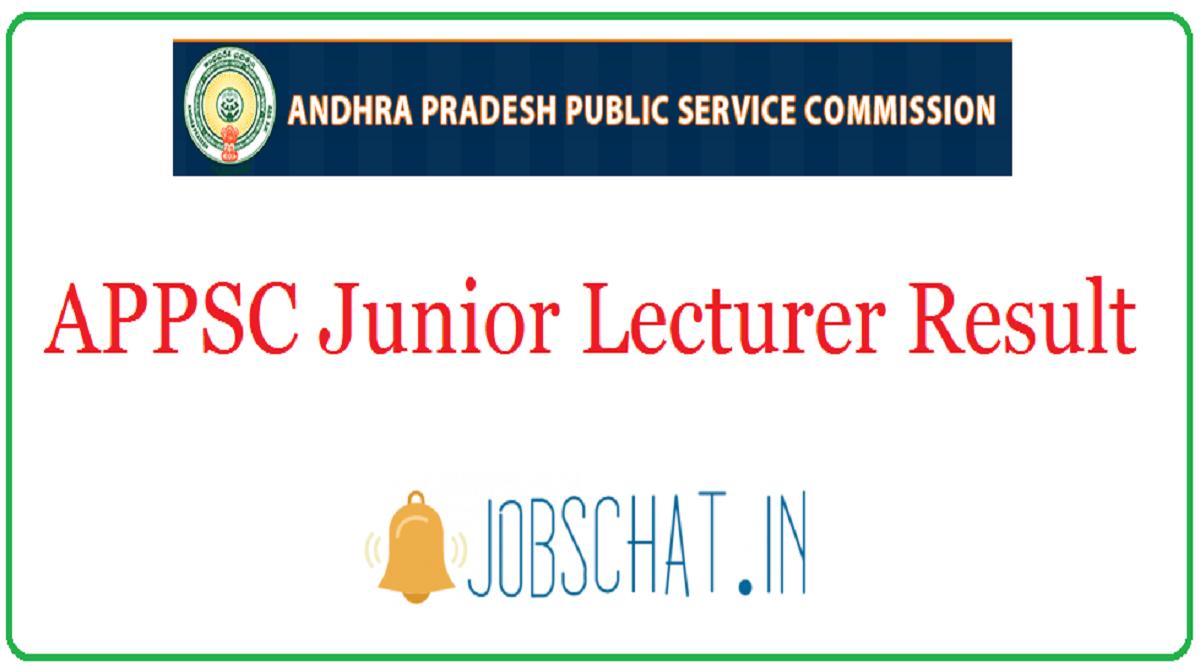 APPSC Junior Lecturer Result