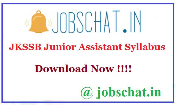 JKSSB Junior Assistant Syllabus