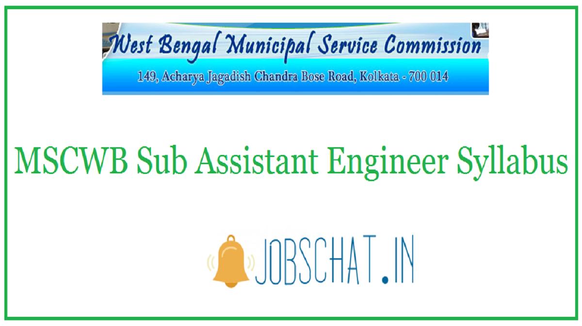 MSCWB Sub Assistant Engineer Syllabus