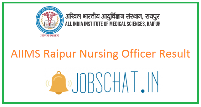 AIIMS Raipur Nursing Officer Result