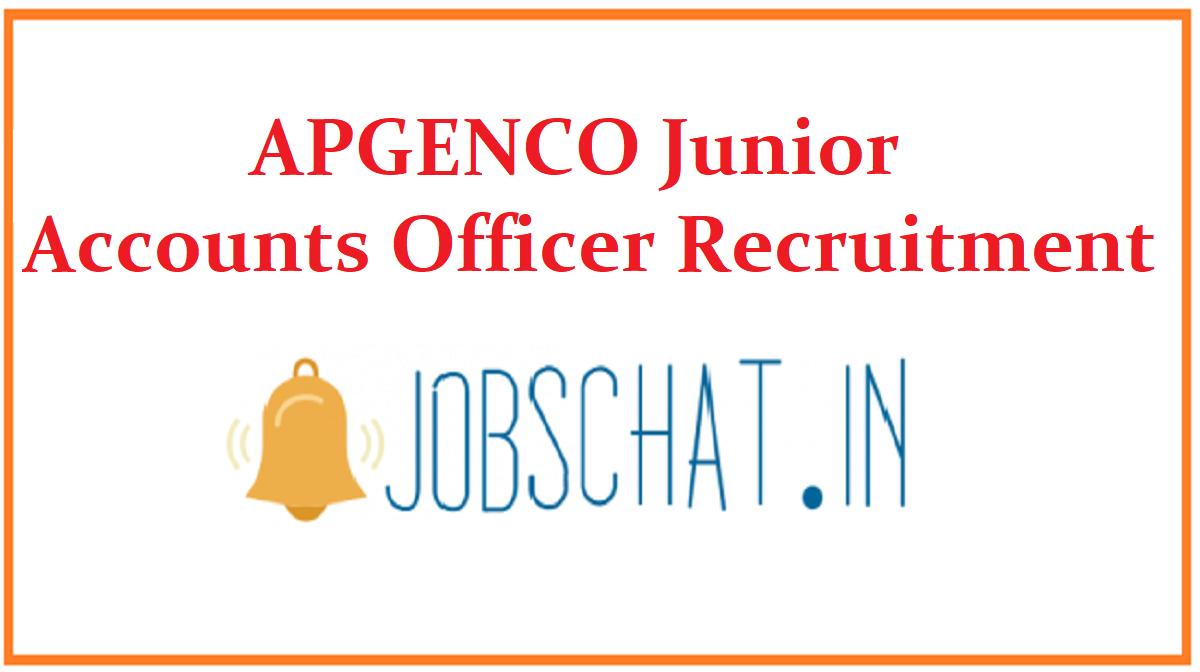 APGENCO Junior Accounts Officer Recruitment