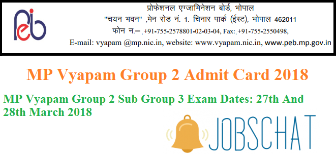 MP Vyapam Group 2 Admit Card