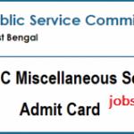 WBPSC Miscellaneous Services Admit Card 2018 | Check WB MSRE Prelims Hall Ticket @ www.pscwb.org.in