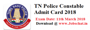 TN Police Constable Admit Card