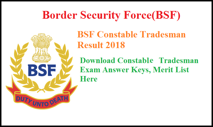 BSF Constable Tradesman Result
