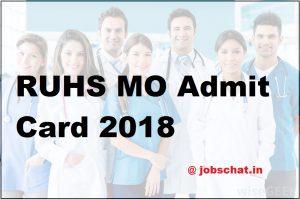 RUHS MO Admit Card 2018
