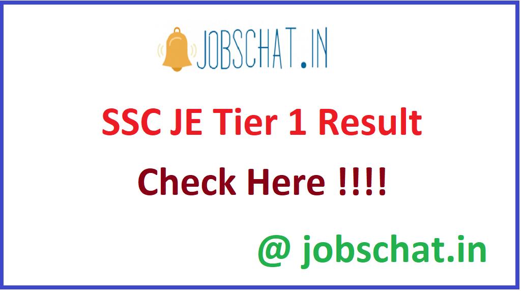 SSC JE Tier 1 Result
