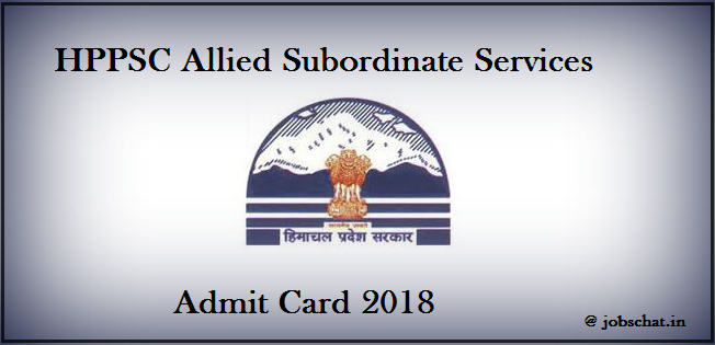 HPPSC Allied Subordinate Services Admit Card 2018