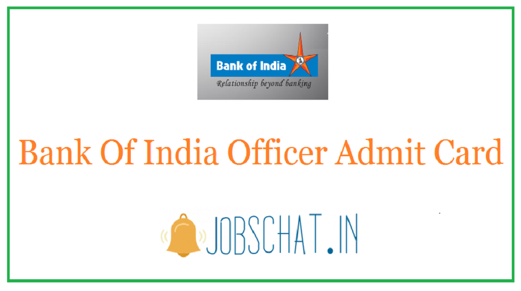 Bank Of India Officer Admit Card