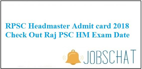 RPSC Head Master Admit Card