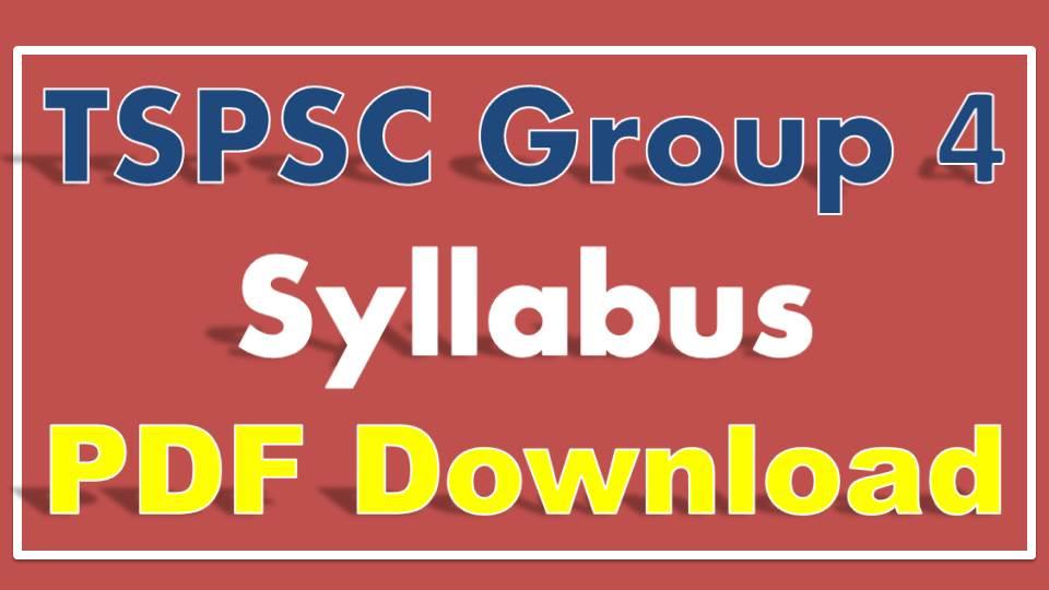 TSPSC Group IV Syllabus
