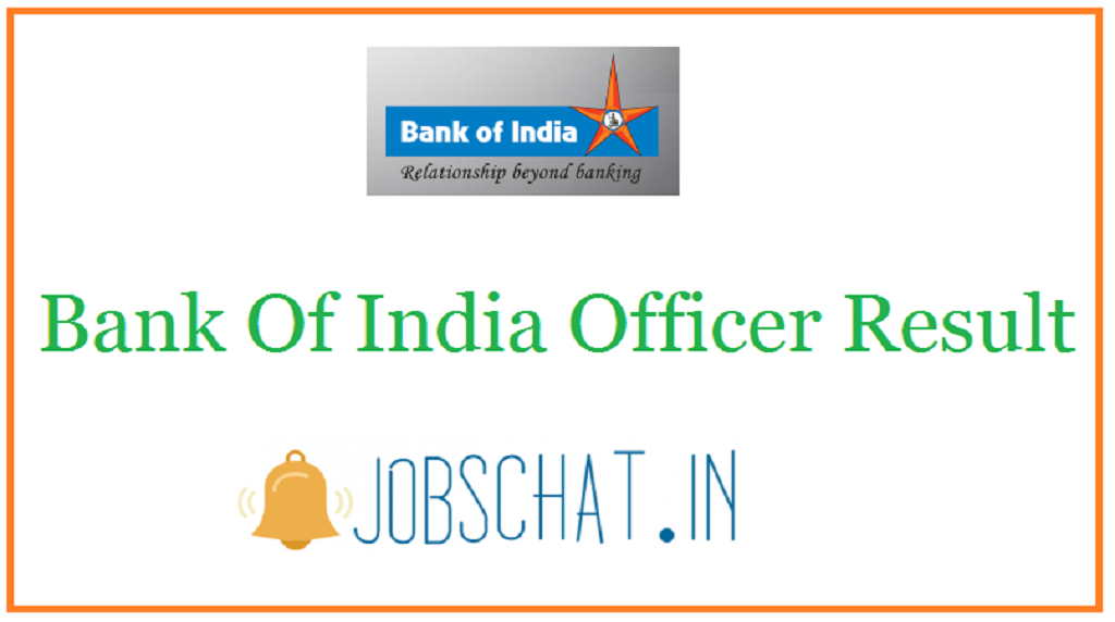 Bank Of India Officer Result