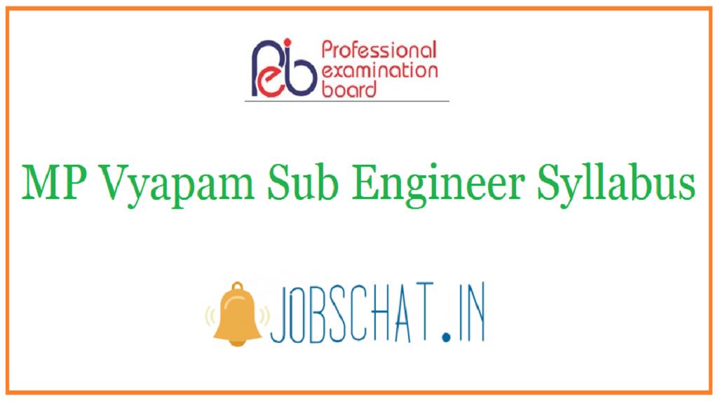 MP Vyapam Sub Engineer Syllabus