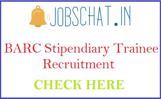 BARC Stipendiary Trainee Recruitment