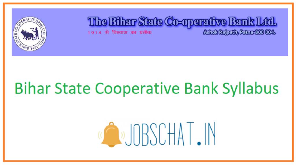 Bihar State Cooperative Bank Syllabus