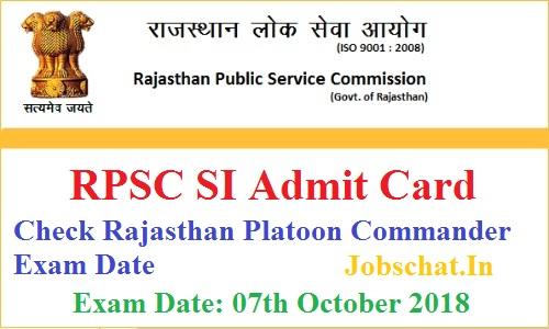 RPSC SI Admit Card
