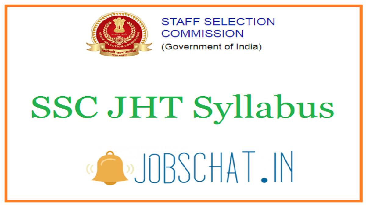 SSC JHT Syllabus