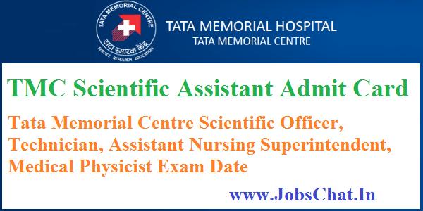 TMC Scientific Assistant Admit Card