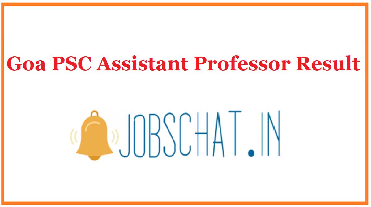 Goa PSC Assistant Professor Result