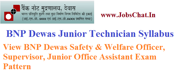 BNP Dewas Junior Technician Syllabus