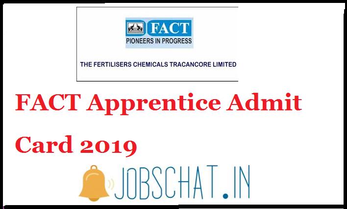 FACT Apprentice Admit Card 2019