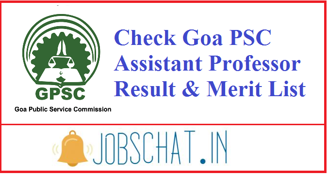 Goa PSC Assistant Professor Result