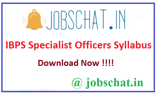 IBPS Specialist Officers Syllabus