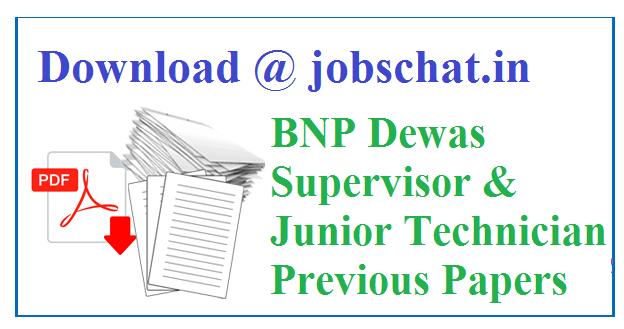 BNP Dewas Junior Technician Previous Papers
