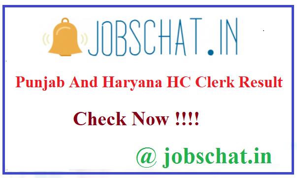 Punjab And Haryana HC Clerk Result