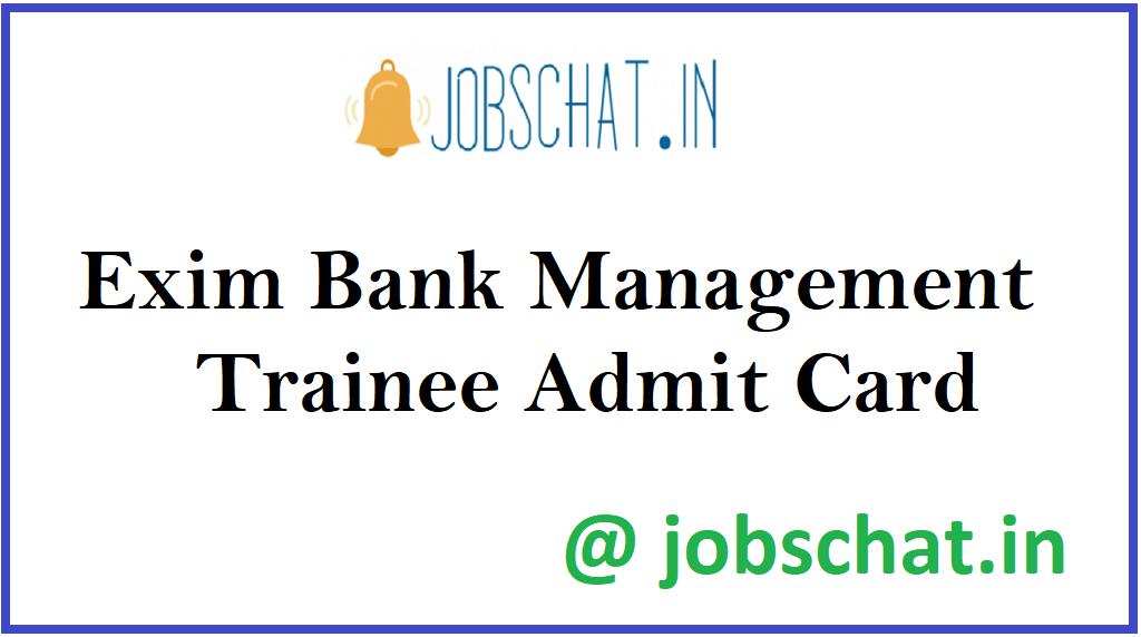 Exim Bank Management Trainee Admit Card