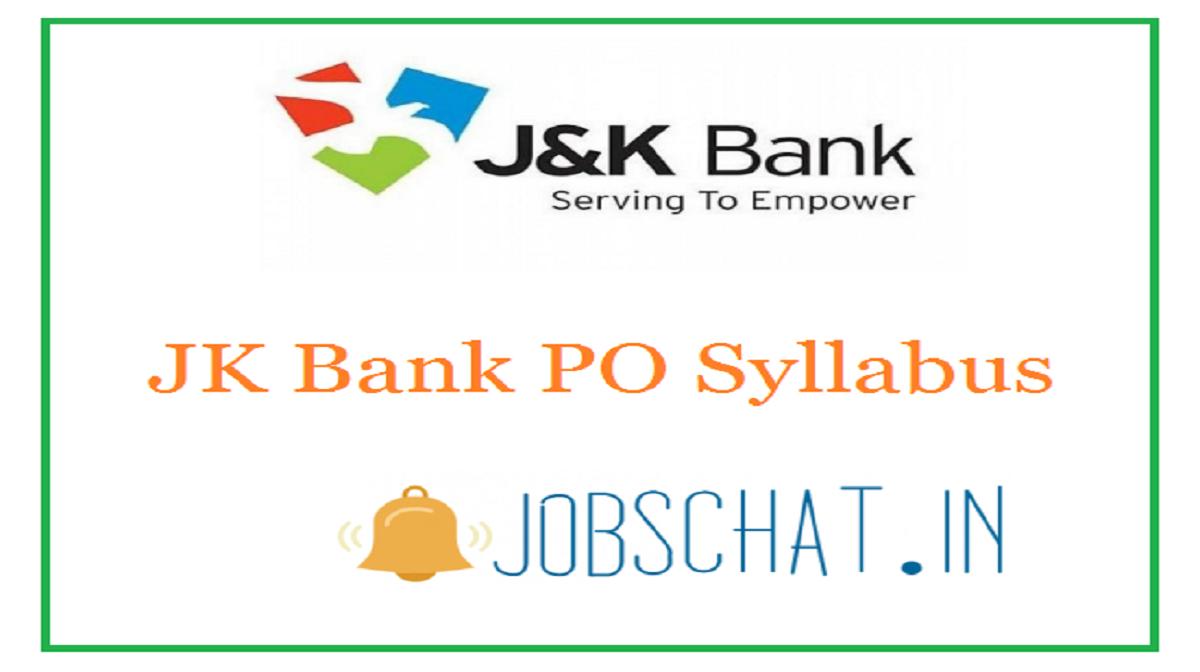 JK Bank PO Syllabus