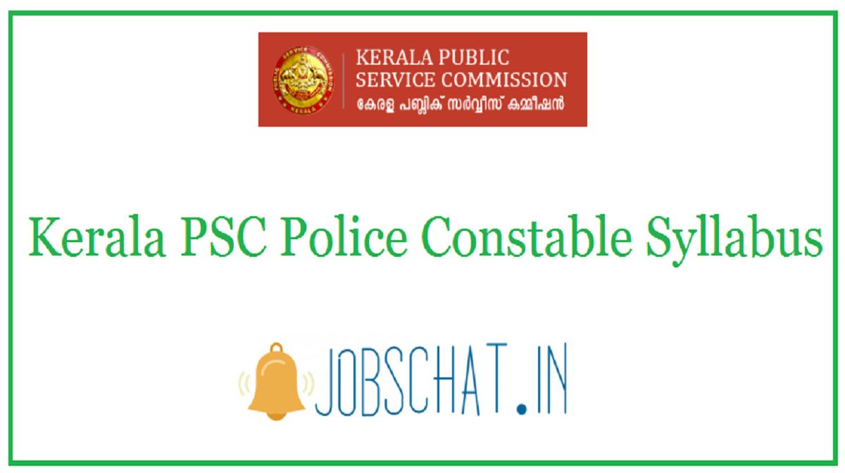 Kerala PSC Police Constable Syllabus