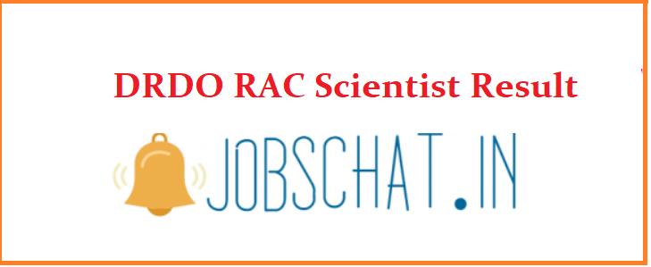 DRDO RAC Scientist Result