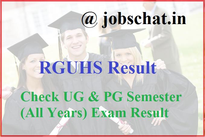 RGUHS Result 2019 || RGUHS UG, PG Exam Result- Check