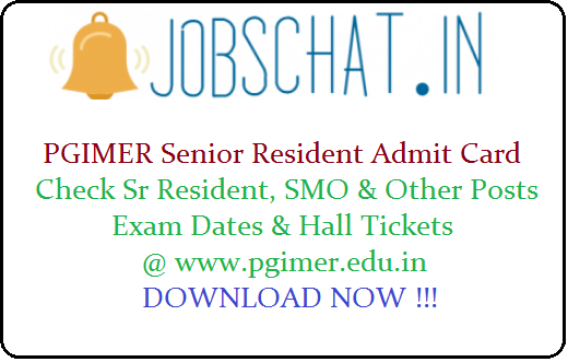 PGIMER Senior Resident Admit Card