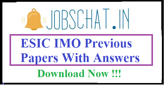 ESIC IMO Previous Papers || Insurance Medical Officer Question Papers