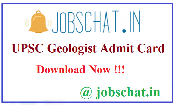 UPSC Geologist Admit Card