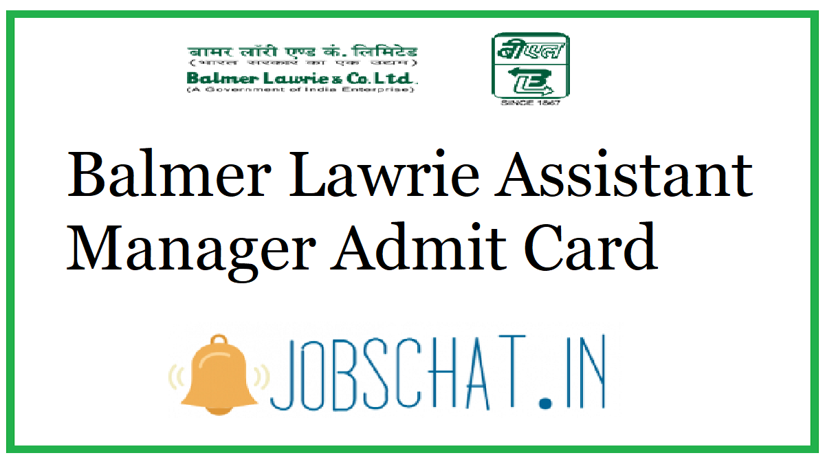 Balmer Lawrie Assistant Manager Admit Card