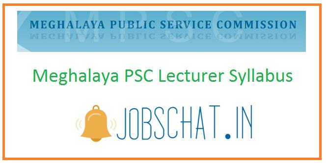 Meghalaya PSC Lecturer Syllabus