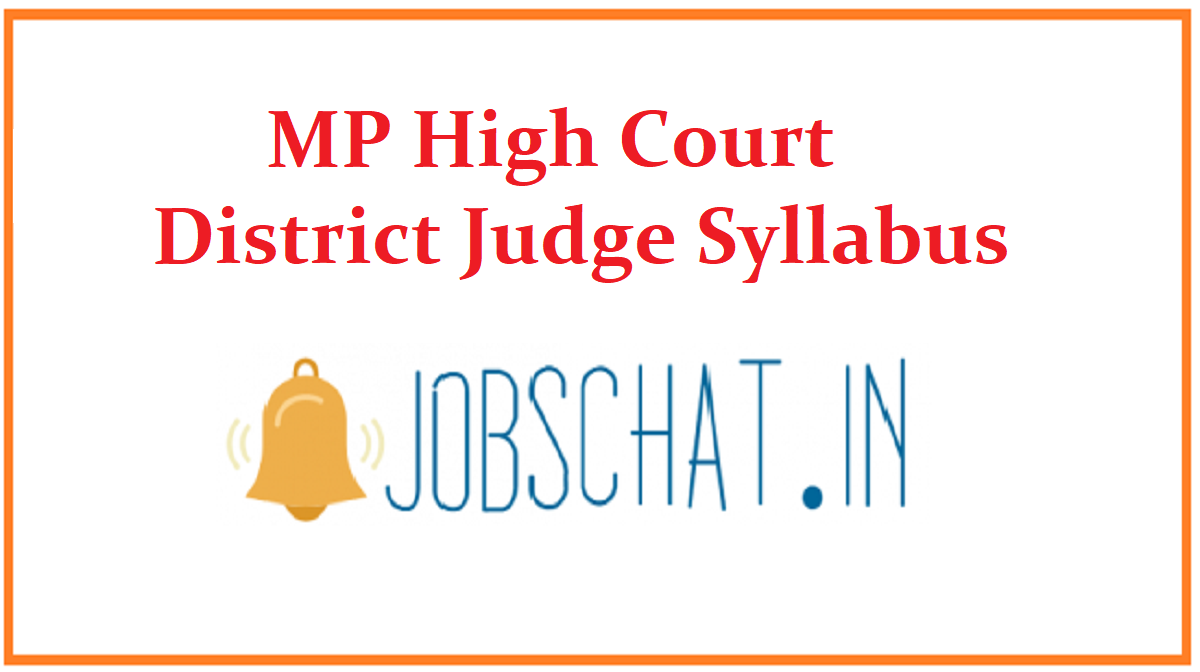 MP High Court District Judge Syllabus