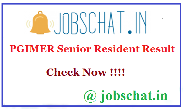 PGIMER Senior Resident Result