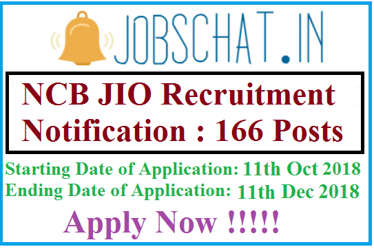 NCB JIO Recruitment