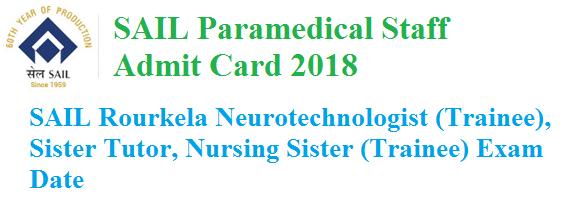 SAIL Paramedical Staff Admit Card