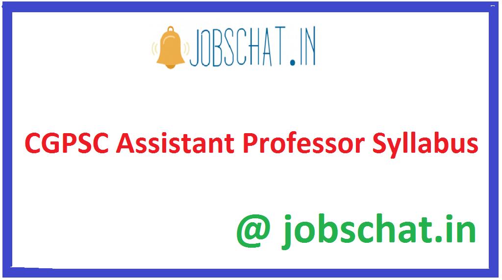 CGPSC Assistant Professor Syllabus