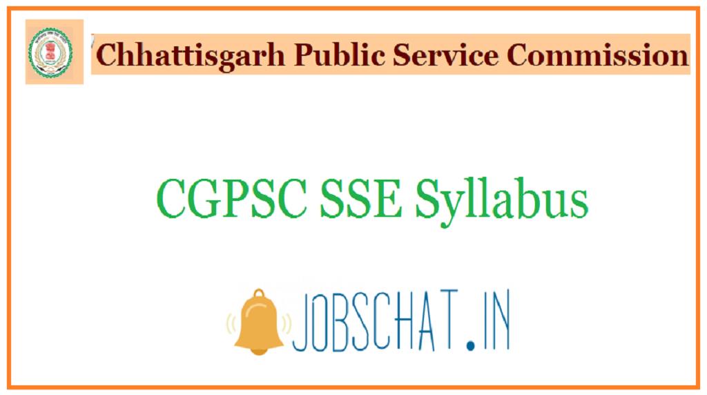 CGPSC SSE Syllabus