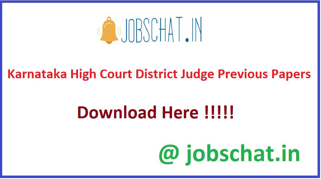 Karnataka High Court District Judge Previous Papers