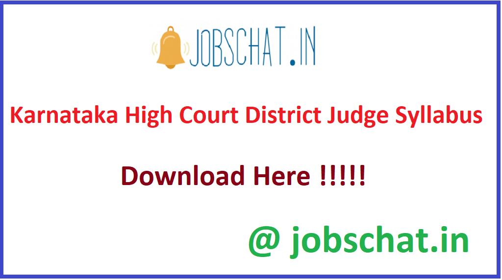 Karnataka High Court District Judge Syllabus