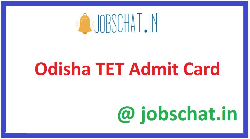 Odisha TET Admit Card