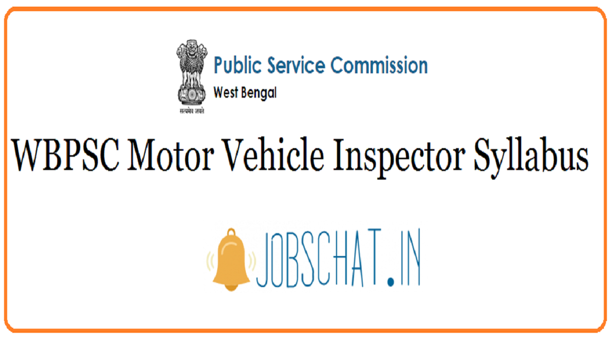 WBPSC Motor Vehicle Inspector Syllabus